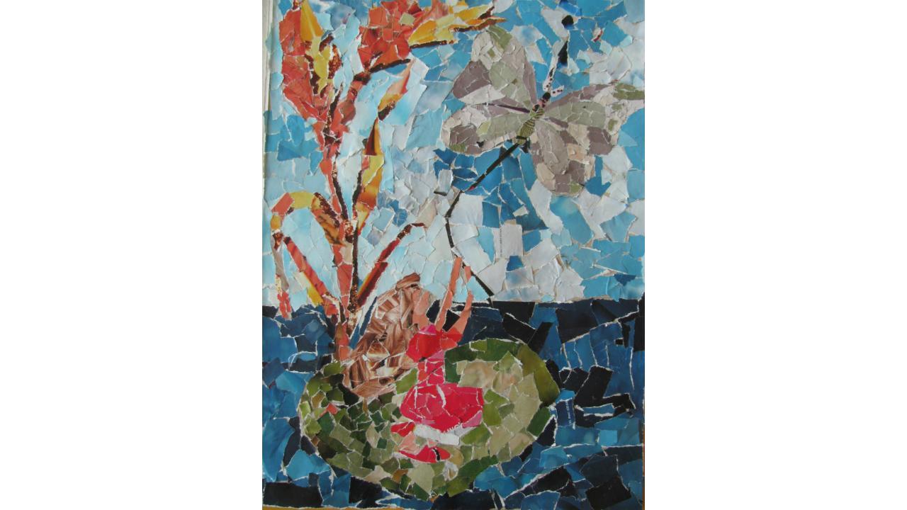 «Яркая мозаика»: Дюймовочка из клочков разноцветной бумаги.